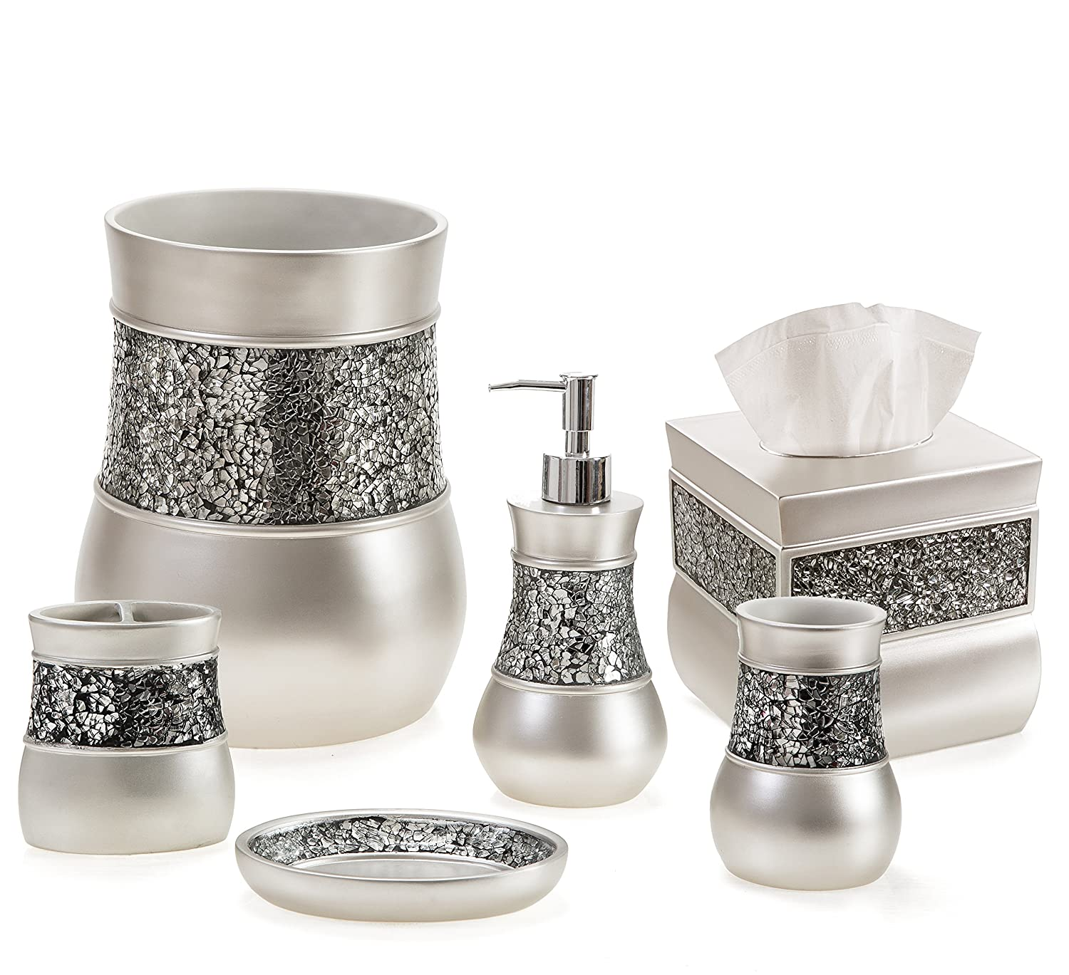 Nickel bathroom accessories - Amazon Com Creative Scents Brushed Nickel Bathroom Accessories Set 4 Piece Bath Ensemble Bath Set Collection Features Soap Dispenser Pump