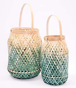 Comlinks LLC Handwoven Decorative Lantern with Matte Finish Handmade Using Natural Bamboo Material Ideal for Candle Holders, Gifts, Home Décor, (Green 2 Pack with Handle)