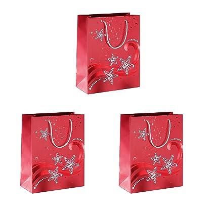 SIGEL GT108 Bolsa para regalos de Navidad pequeñas, Wave, con estampación en caliente roja y blanca, papel, 210 g, 175x230x100 mm, 3 unds.