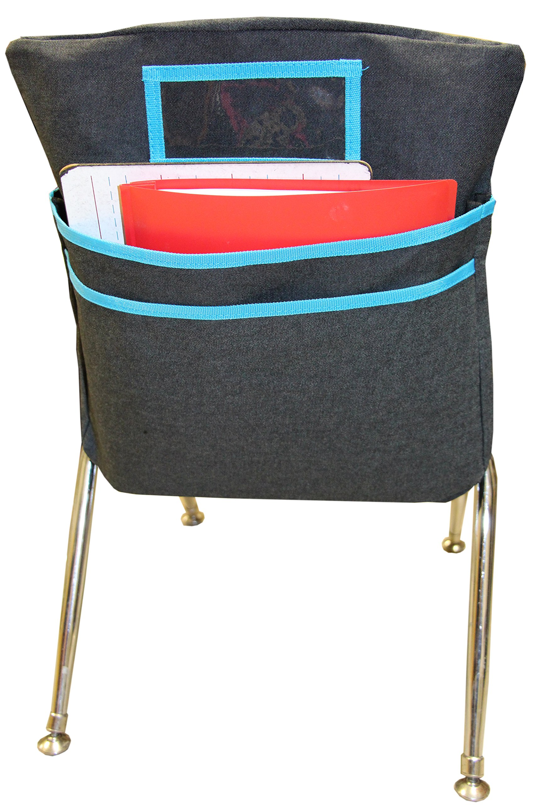Tiny Octopus Student Chair Pockets For Classrooms - Books and Supplies Chairback Organizer - Foldable and Portable Class Seat Companion (Blue)