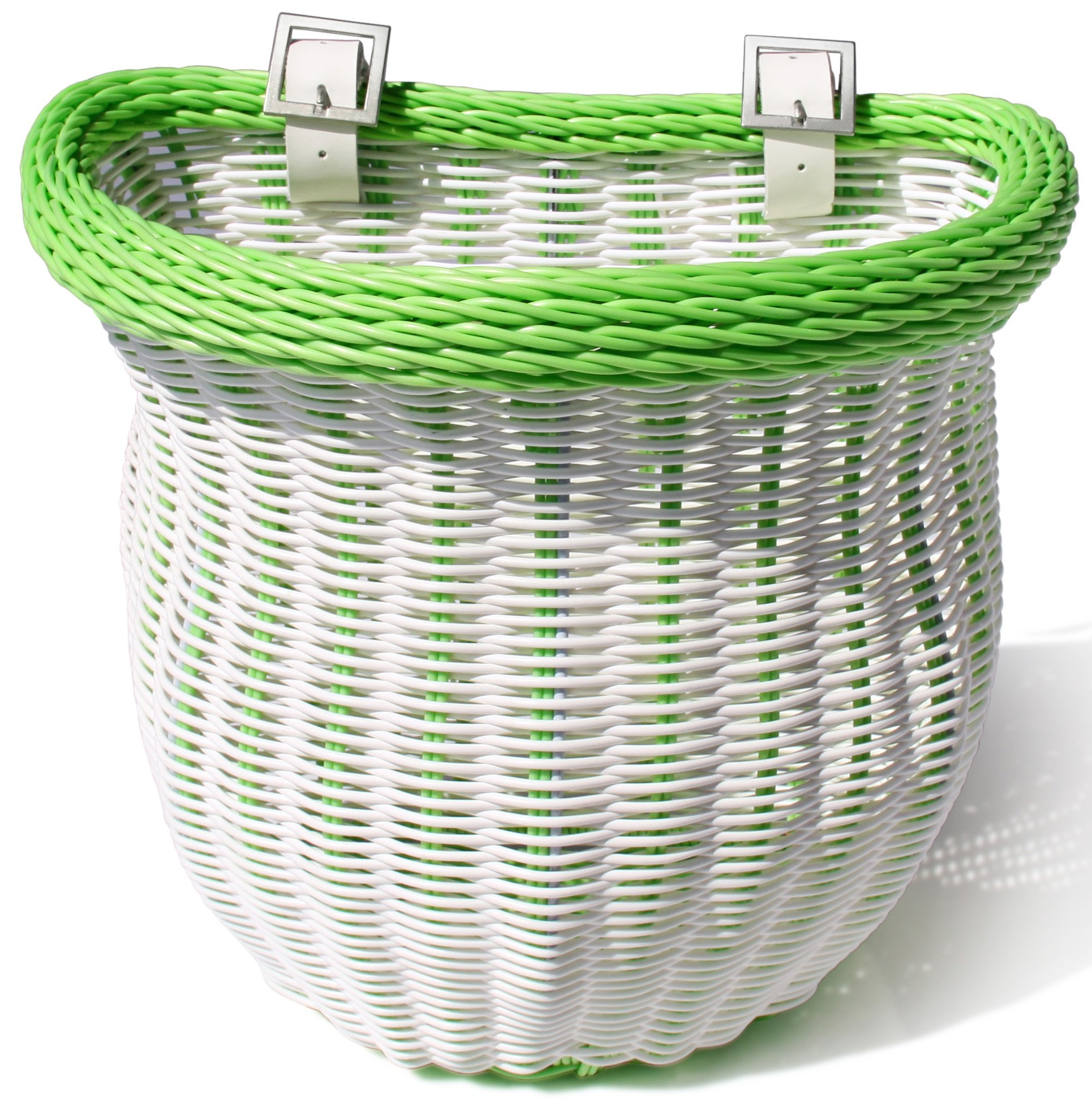 Colorbasket 01372 Front Handle Bar Adult Bike Basket, Water Resistant, Leather Straps, White with Green Trim