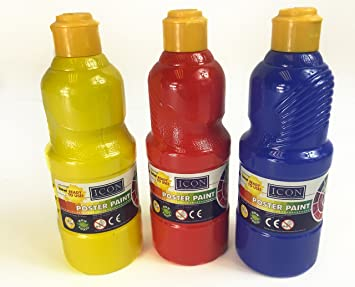 Juego de 3 pinturas de tempera, 500 ml, botes rojo, amarillo, azul