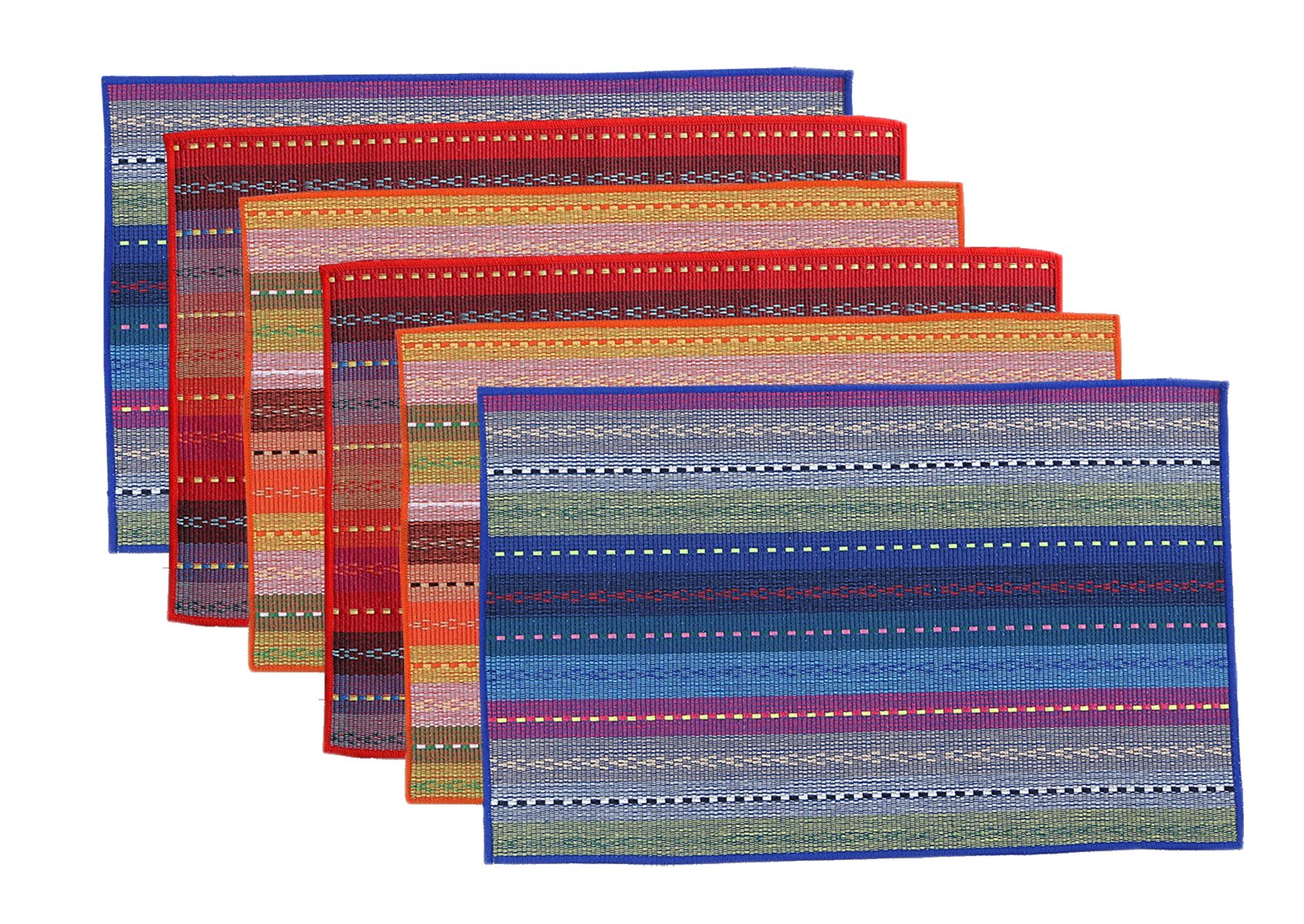 WOOD MEETS COLOR Cotton Table Placemats Woven Braided Ribbed Washable Kitchen Table Mats Set of 6, 12'' x 18'' (Mixed Color 2)