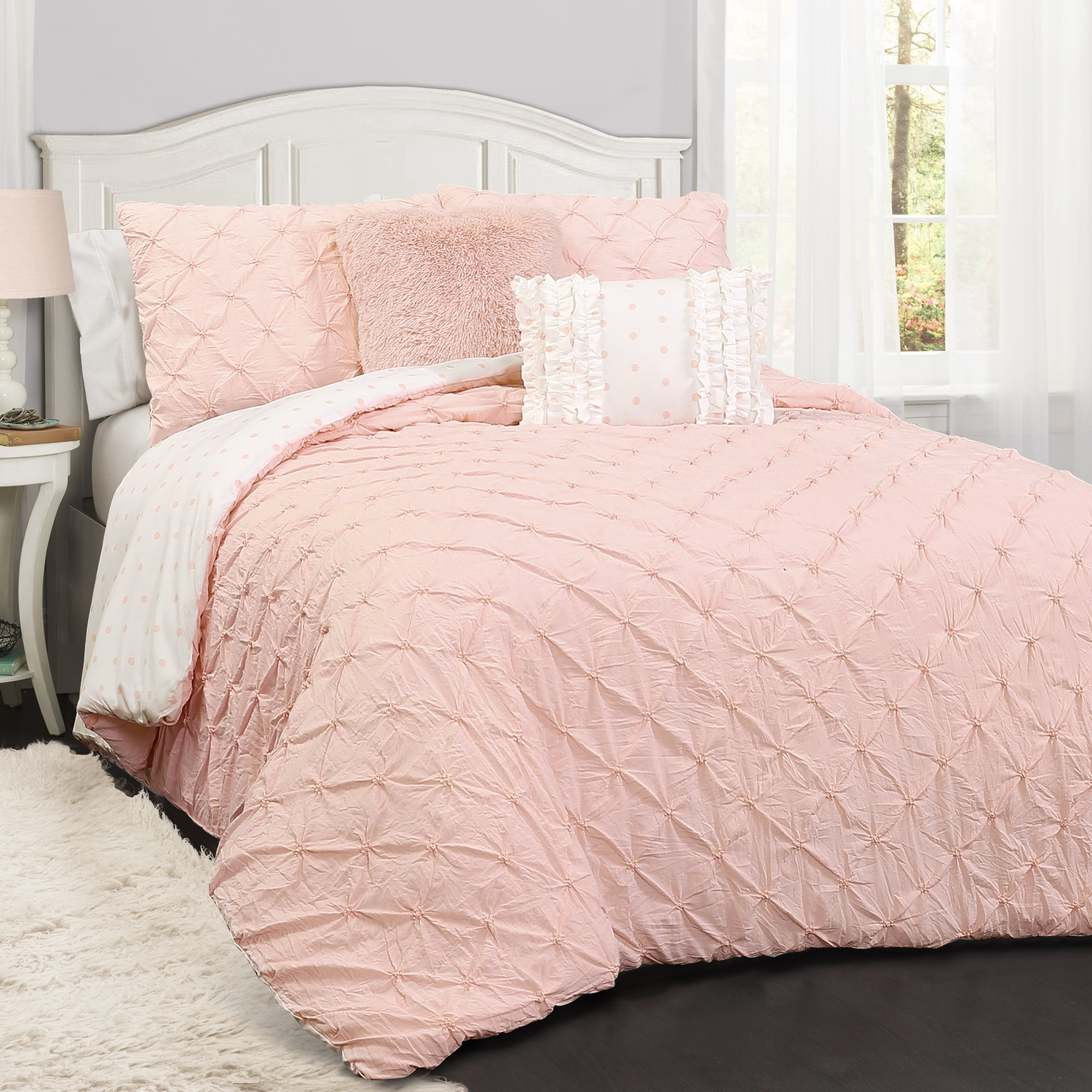 Lush Decor Lush Décor Ravello Pintuck 5 Piece Comforter Set, Full/Queen, Pink