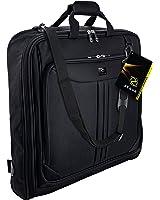 ZEGUR 40-Inch 3 Suit Carry On Garment Bag for Travel or Business Trips - Features an Adjustable Shoulder Strap and Multiple Organization Pockets - Black
