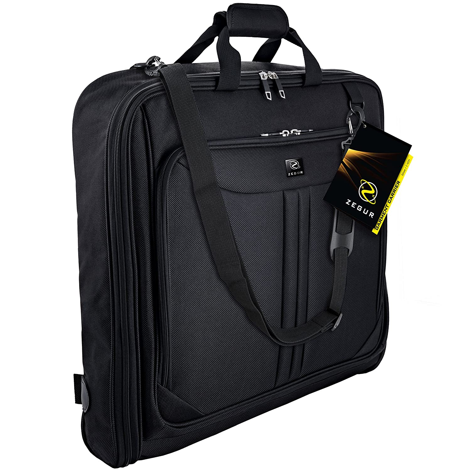 b7861be007e2 ZEGUR Suit Carry On Garment Bag for Travel & Business Trips With Shoulder  Strap (Black)