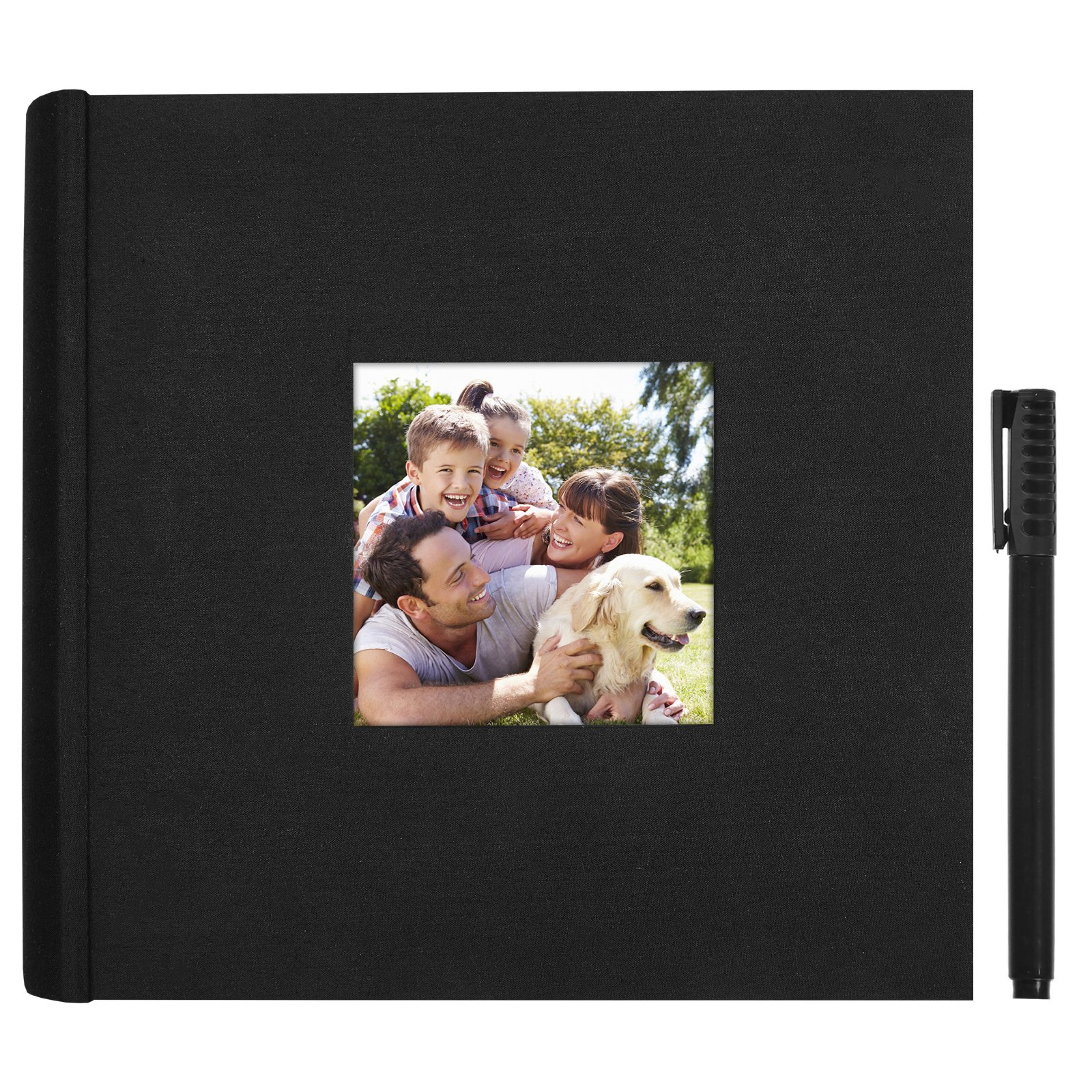 Americanflat Black Photo Album - Holds 200 Photos - Fits Photos 4x6 Inches - Ultra-Fine Tip Pen Included
