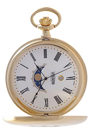 235ccfd20c8 Bernex Swiss Made Quartz Gold Plate Half Hunter Moonphase Pocket Watch