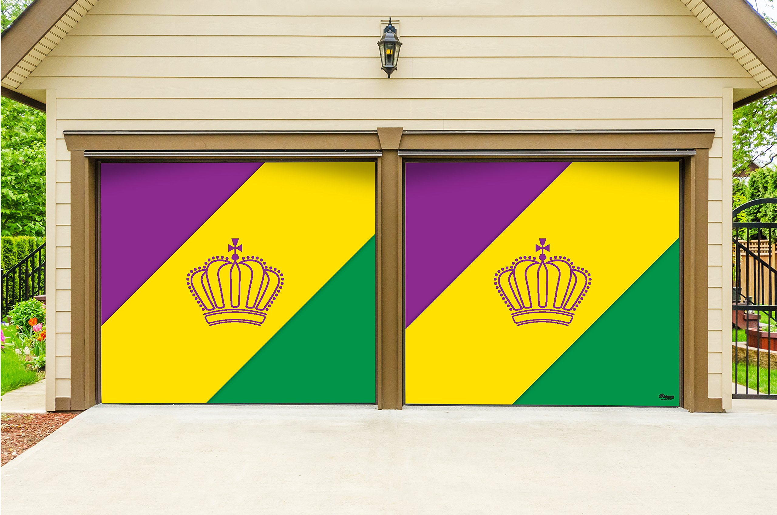 Outdoor Mardi Gras Decorations 2 Car Split Garage Door Banner Cover Mural - Mardi Gras Diagonal Stripes, Two 7'x 8' Graphic Kits - ''The Original Mardi Gras Supplies Garage Door Banner Decor''