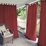 """Elrene Home Fashions 026865874365 Indoor/Outdoor Solid Tab Top Single Panel Window Curtain Drape, 52"""" x 84"""", Red"""