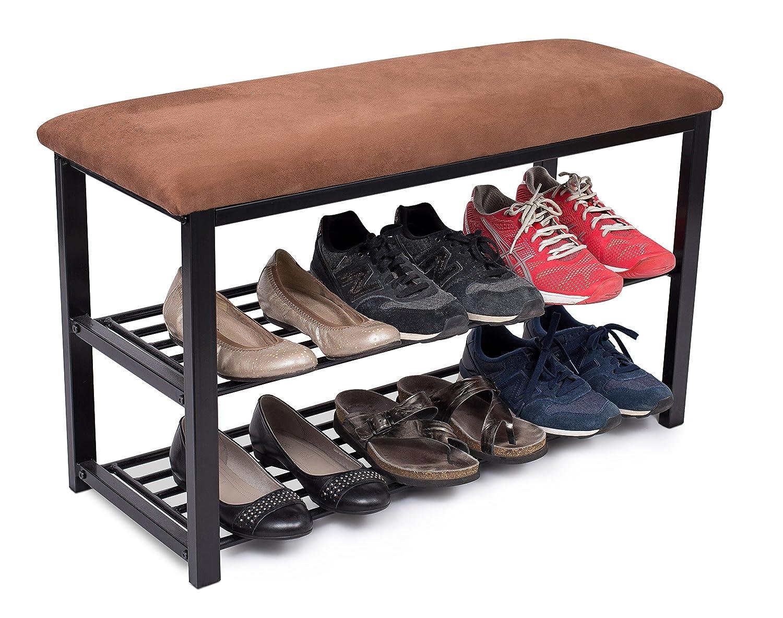 BirdRock Home Storage Shoe Rack Bench for Entryway - Brown - Cushion Seat - Metal - Entrance Sitting - Shoe Holder - Front Door Organizer - Home Storage