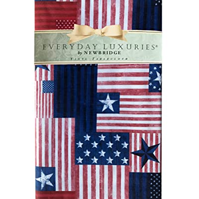 """Newbridge Patriotic Patchwork Flag Print Vinyl Flannel Backed Tablecloth - Red, White and Blue American Flag Indoor/Outdoor Tablecloth for Patio and Kitchen Dining - 52"""" x 70"""" Oblong/Rectangle : Garden & Outdoor"""