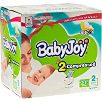 Babyjoy 2x Compressed Diaper, Jumbo Box Small Size 2, Count 136, 3.5 - 7 KG