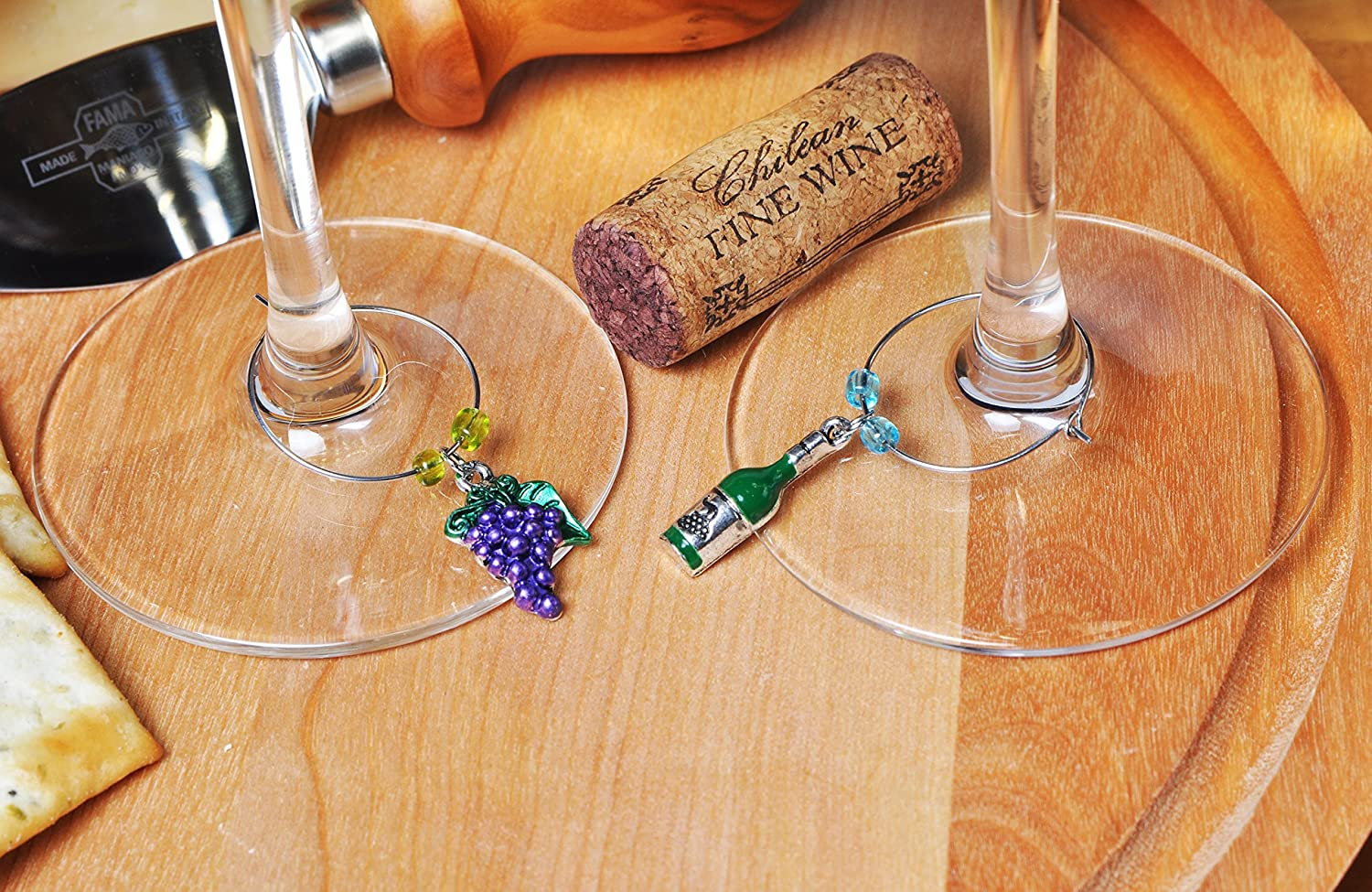 Wine and Grapes Wine Glass Charms Set of 6 with Sateen Storage Bag by Cork /& Leaf Hand Painted