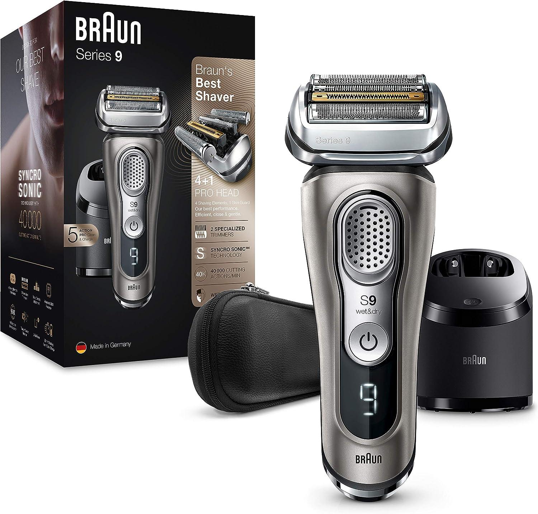 Braun Series 9 9385cc Afeitadora Eléctrica Hombre de Última Generación, Afeitadora Barba con Estación Limpieza y Carga Clean&Charge, Funda, Color Grafito