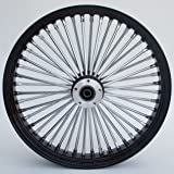 Ultima King Spoke Tubeless Black/Chrome Front Dual Discs Wheel 21x3.5 for 00+ Harley 37-543