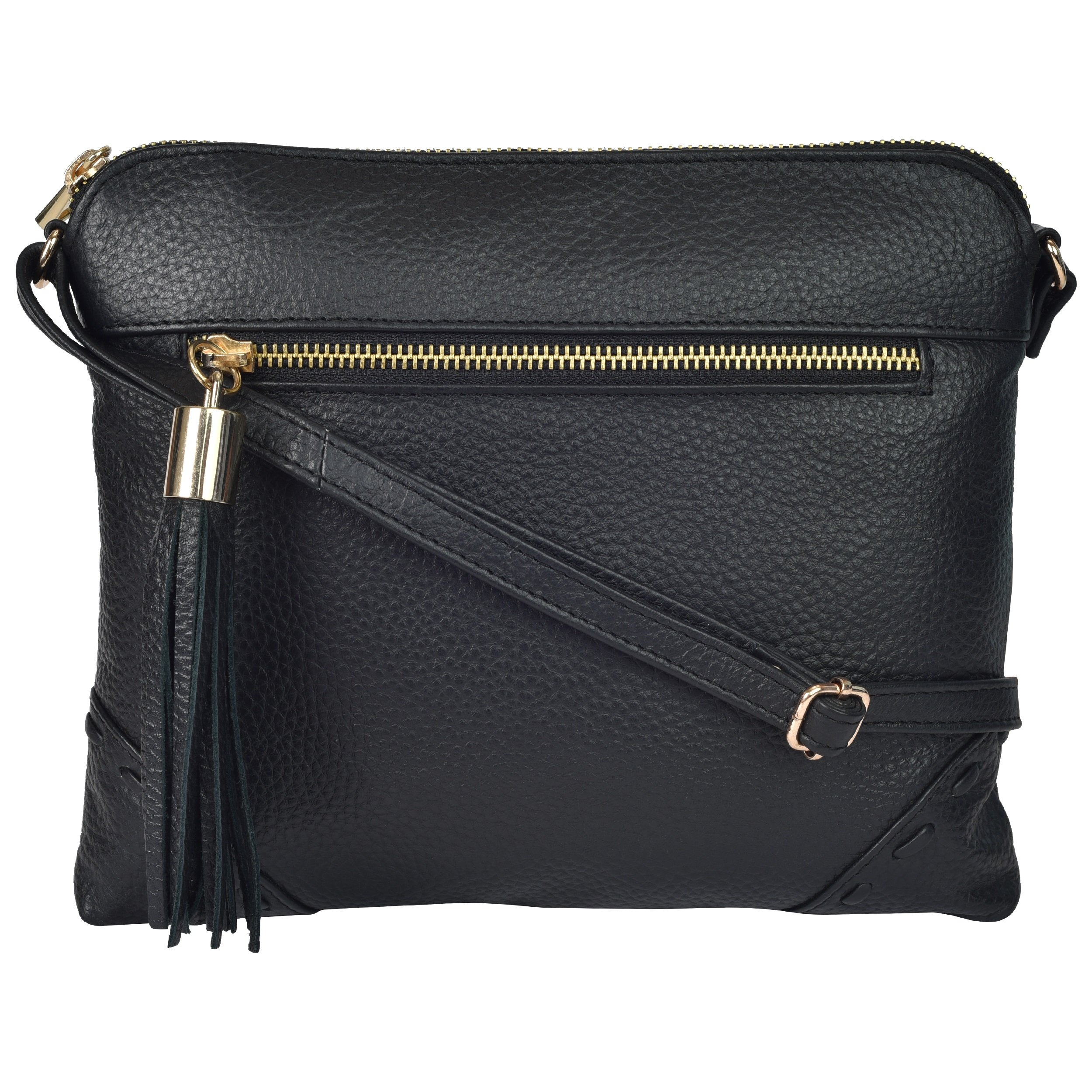 Leather Crossbody Purses and Bags for Women - Womens Crossover Handbags Over the Shoulder Travel Genuine Handmade Purse (Black Floater)