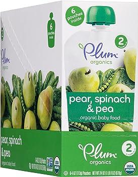 6-Pk. Plum Organics Stage 2 Purees Pear, Spinach & Pea (4-Oz.)