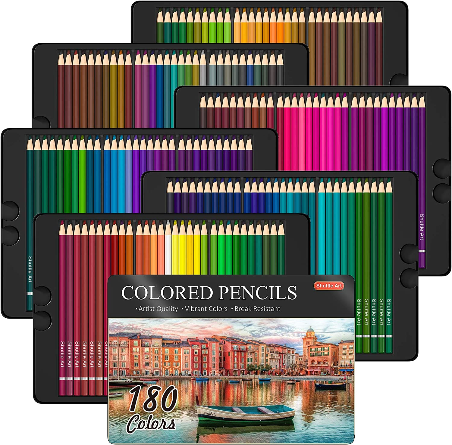 180 Colored Pencils, Shuttle Art Soft Core Coloring Pencils Set with 4 Sharpeners, Professional Color Pencils for Artists Kids Adults Coloring Sketching and Drawing