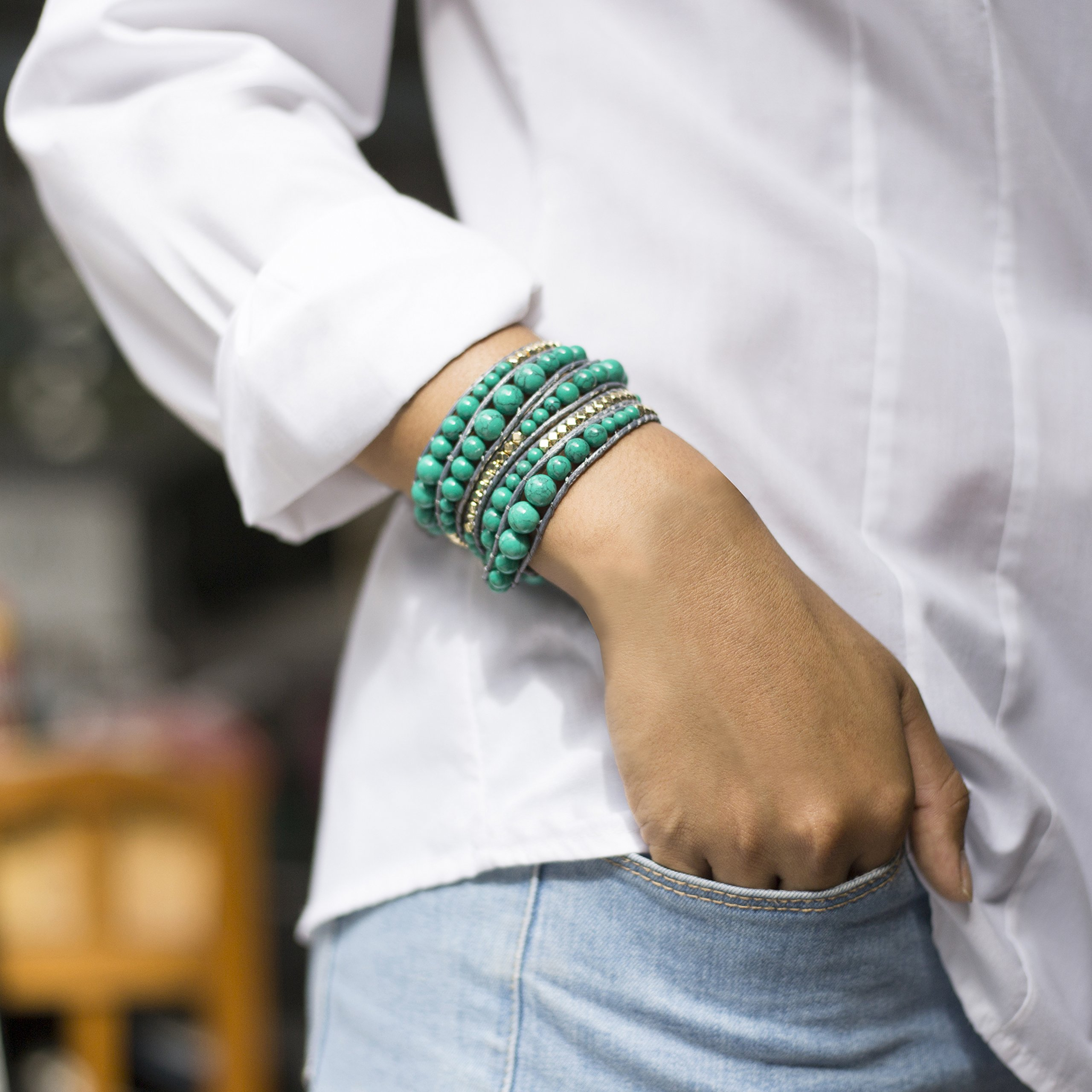 Genuine Stones 5 Wrap Bracelet - Bangle Cuff Rope With Beads - Unisex - Free Size Adjustable (Turquoise) by Sun Life Style (Image #3)