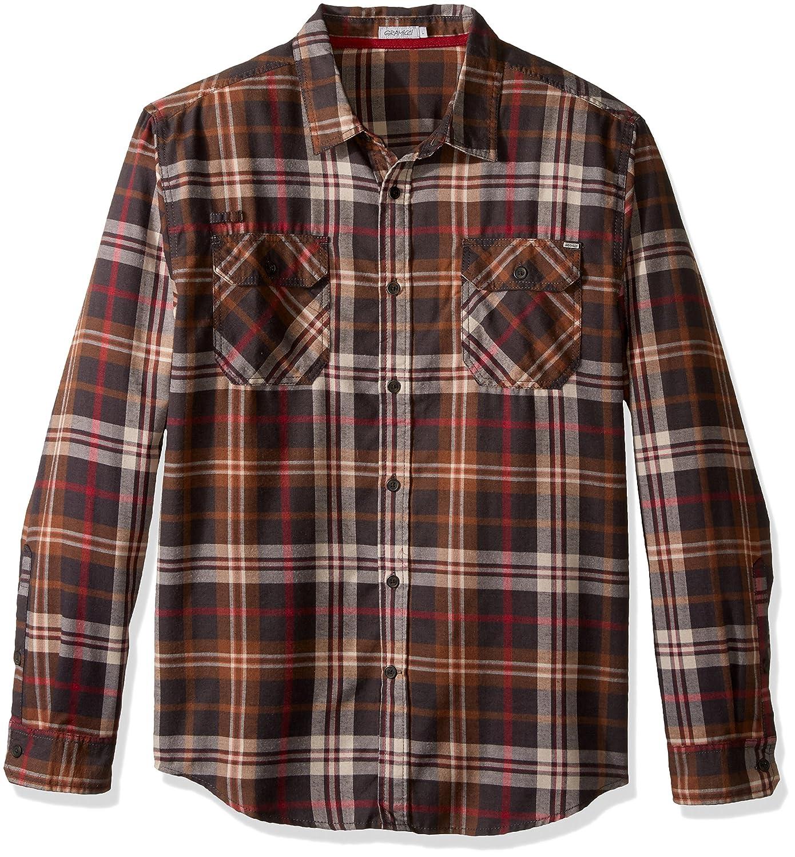 desolateness Men Long Sleeve Western Plaid Shirt Button Down Casual Shirts