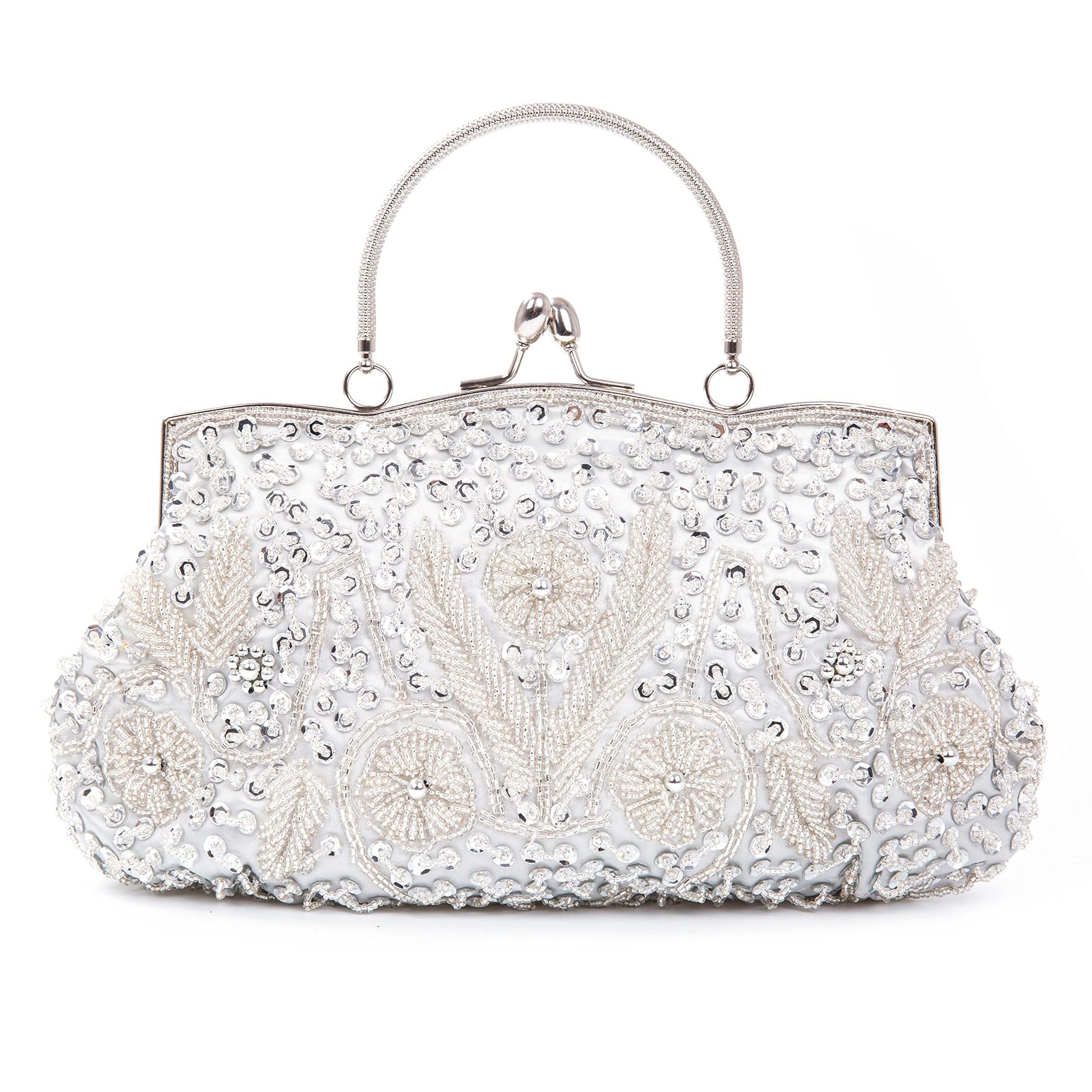 Chichitop Women's Vintage Kiss Lock Beaded Sequin Design Flower Evening Clutch Large Wedding Purse (Silver)