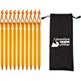 Adventure Gear Outfitter 10 Aluminum Tent Stakes with Stuff Sack - Ultralight and Strong - Perfect for Camping and Backpacking