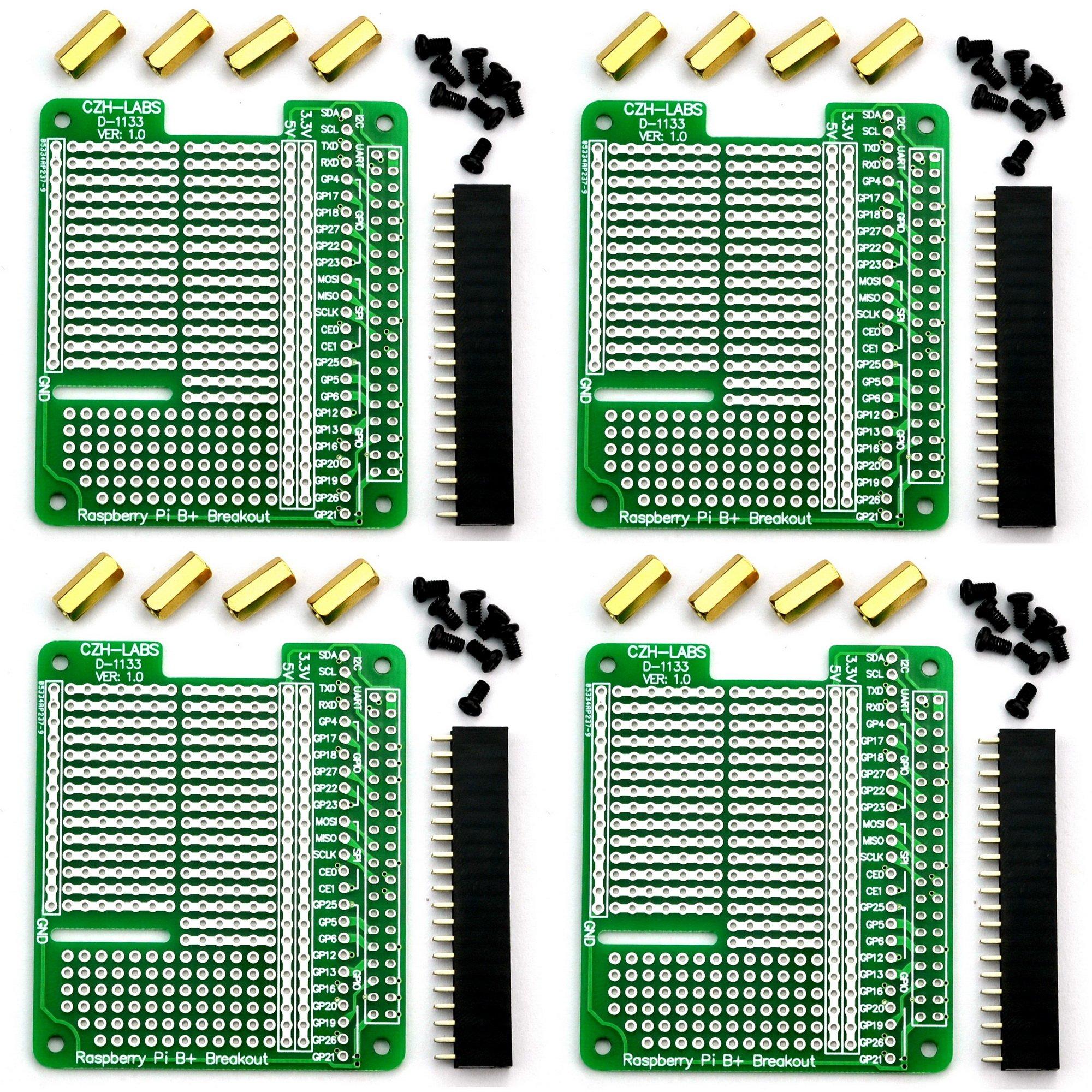 Electronics-Salon 4x Prototype Breakout PCB Shield Board Kit for Raspberry Pi 3 2 B+ A+, Breadboard DIY. by CZH-LABS