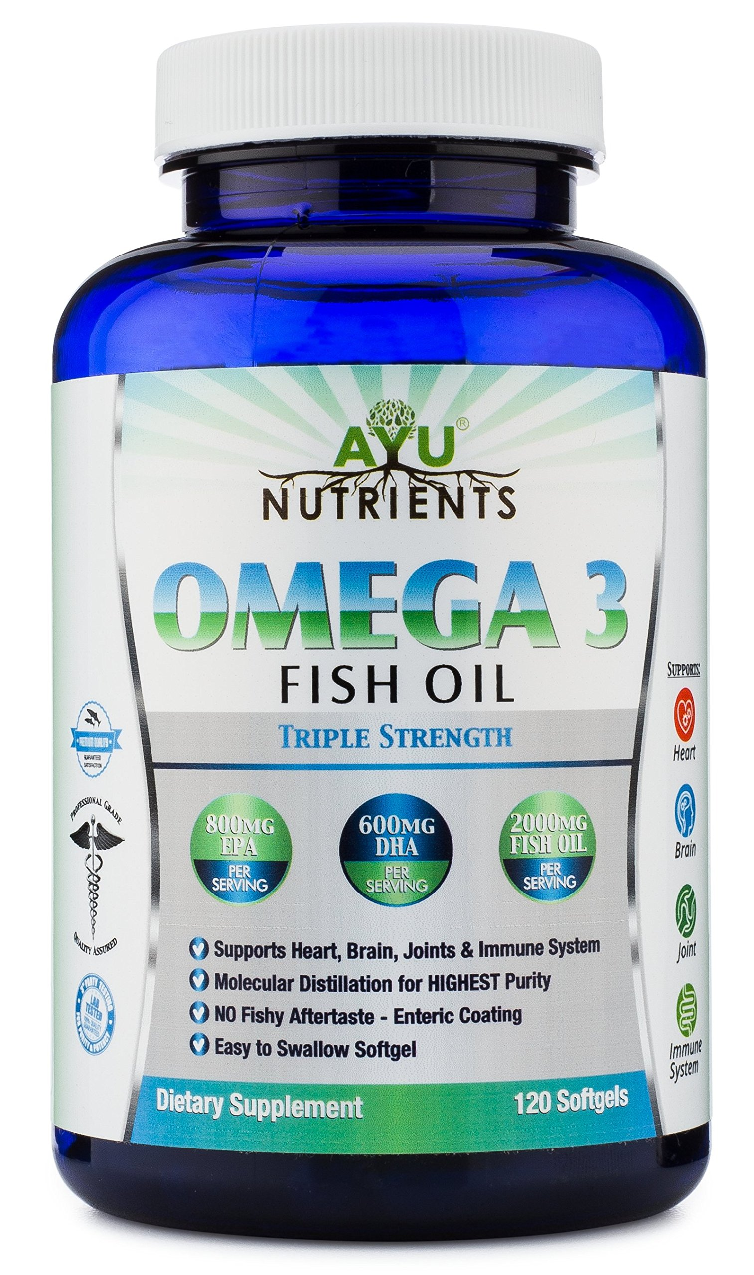 Omega 3 Fish Oil Triple Strength 100% Pure Sea Harvested Fish Oil /Natural Essential Fatty Acids - High EPA (800 mg) High DHA (600mg)! 60/120/180 Softgels (120)