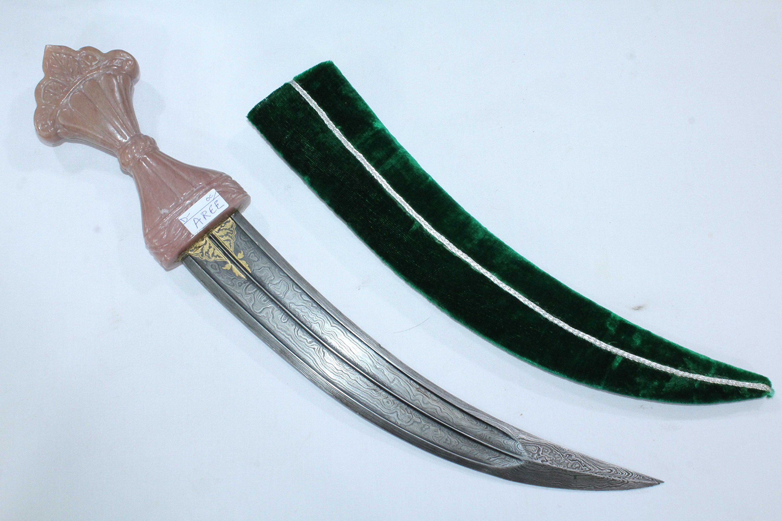 Rajasthan Gems pink Jade natural stone Handle Dagger knife Gold work damascus steel blade 18.0' by Rajasthan Gems