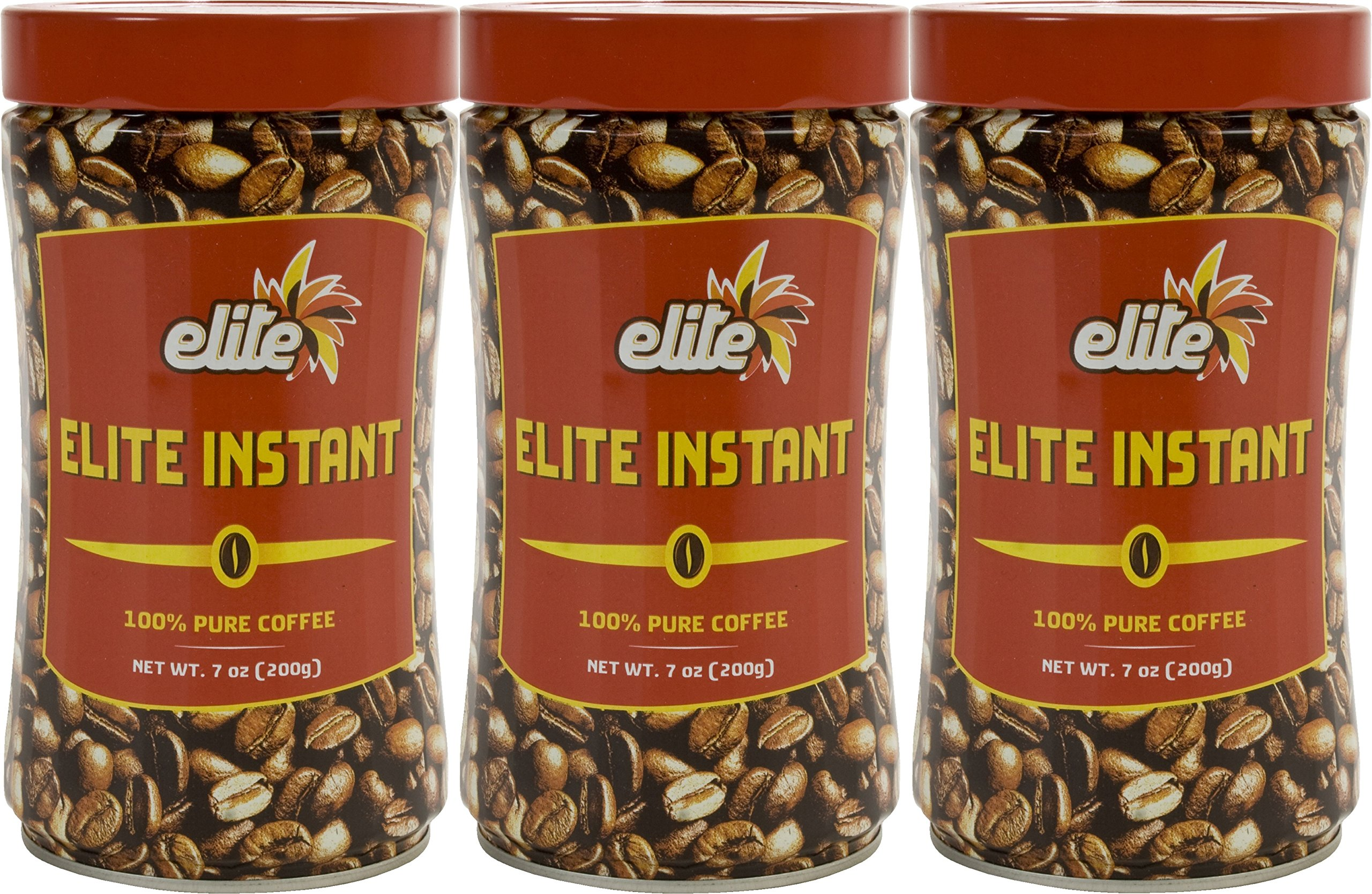 Elite Instant Pure Coffee, 7ounce Tin, (3 Pack) by Elite