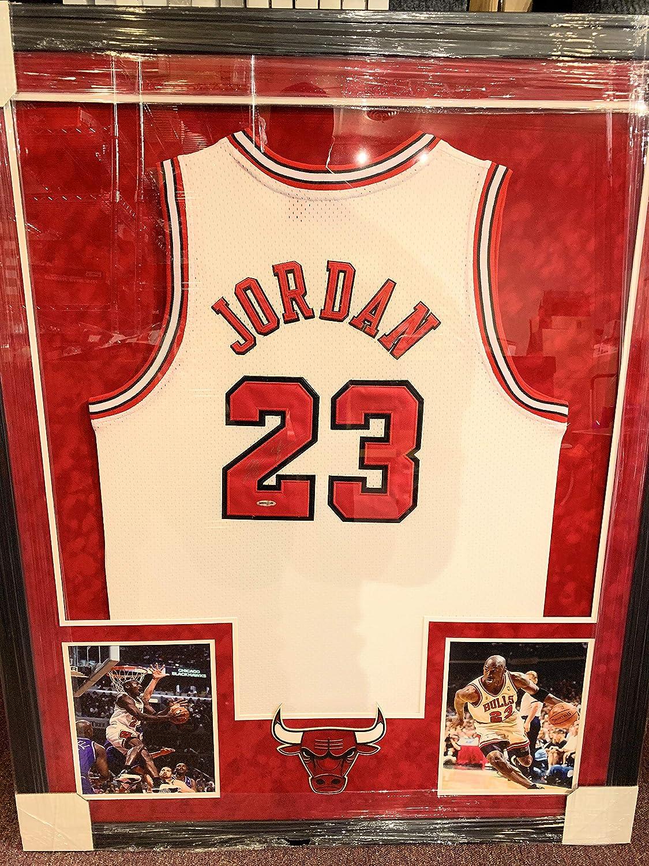 c82f58ea6b517 Michael Jordan Chicago Bulls Autograph Signed Custom Framed Jersey ...