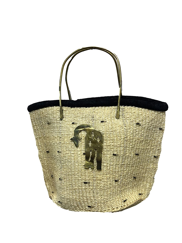 ZAWADEE Handmade Woven Kiondo Tote Bag Purse with Brass Animal Accessory
