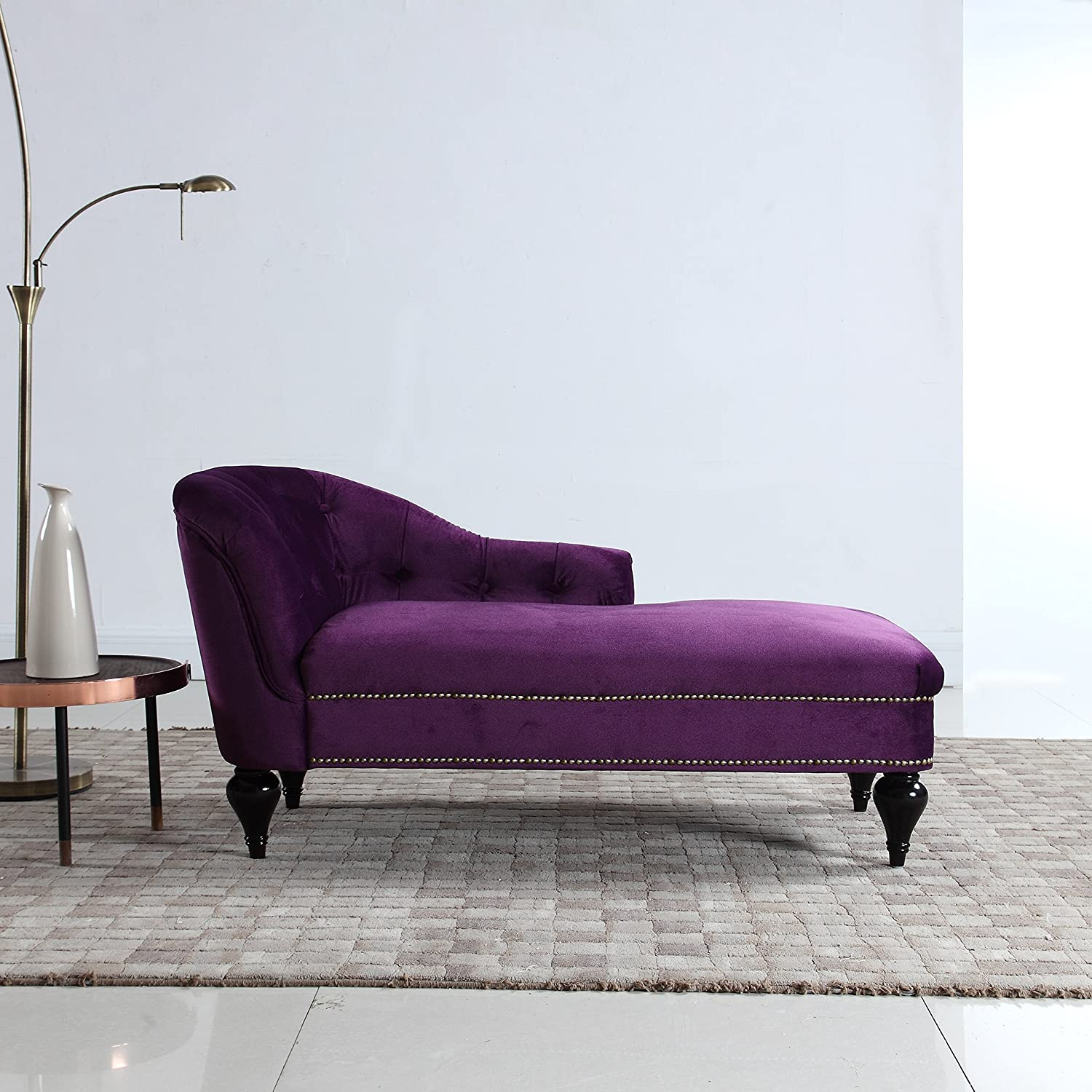 Divano Roma Furniture Kids Chaise Lounge Indoor Chair Tufted Velvet Fabric, Modern Long Kid Size Lounger for Office or Living Room (Dark Purple)