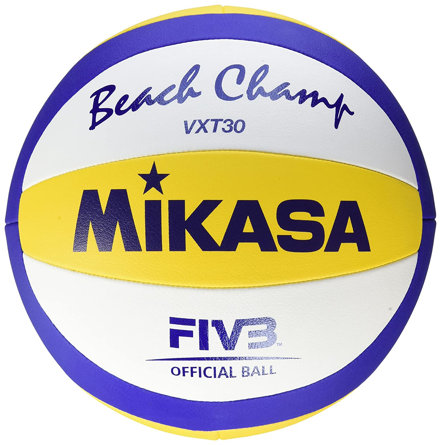Mikasa VXT30 Beach Champ DVV - Pelota para volley playa, color azul/amarillo / blanco - 66-68 cm Umfang 1611