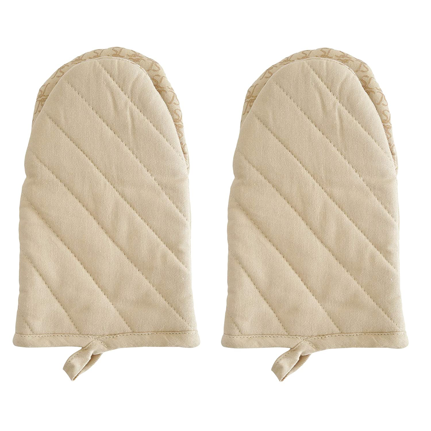 Oven Mitt, Solid Beige Color Set Of 2. Heat Resistant Cotton Quilted Oven Mitt Silicone Printed, Non Slip Grip, Terry Lining, Used For Cooking, BBQ, Baking, Grilling. Machine Washable.