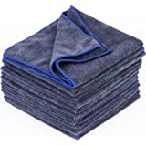 SurePromise 10 pcs (40cm x 40cm) of Soft Micro fibre Drying Cleaning Cloths Car towel Cloths Towels car Cleaning Accessories Polishing Detailing Dark Grey 300gsm 48g each one