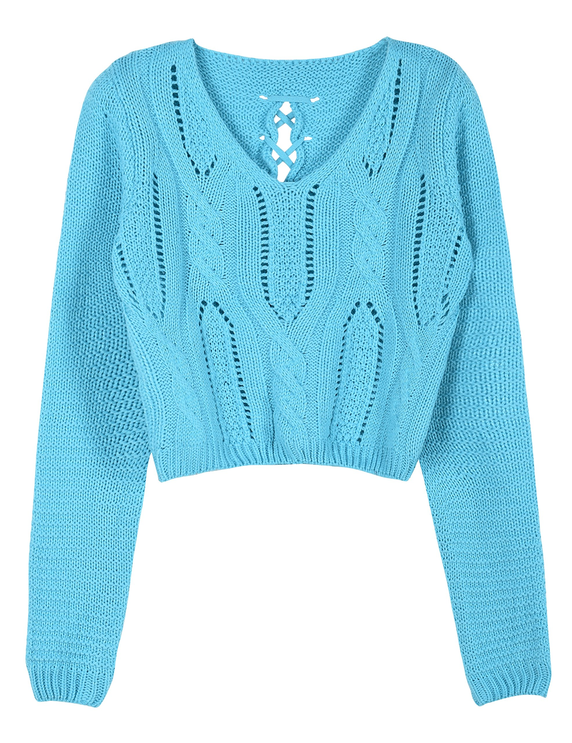 PrettyGuide Women's Long Sleeve Eyelet Cable Lace Up Crop Top Light Blue S