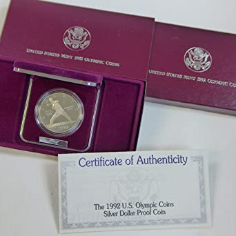 1992 S US Olympics Commem Proof  2 Coin Set Silver Dollar and Clad Half OGP BOX