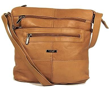 94848081c149 Tan / Light Brown Genuine Real Leather Ladies Medium Handbag Shoulder Bag  Long Strap.