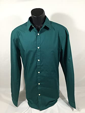 9d5a1469e903 H&M Solid Green Button Down Shirt size L at Amazon Men's Clothing store: