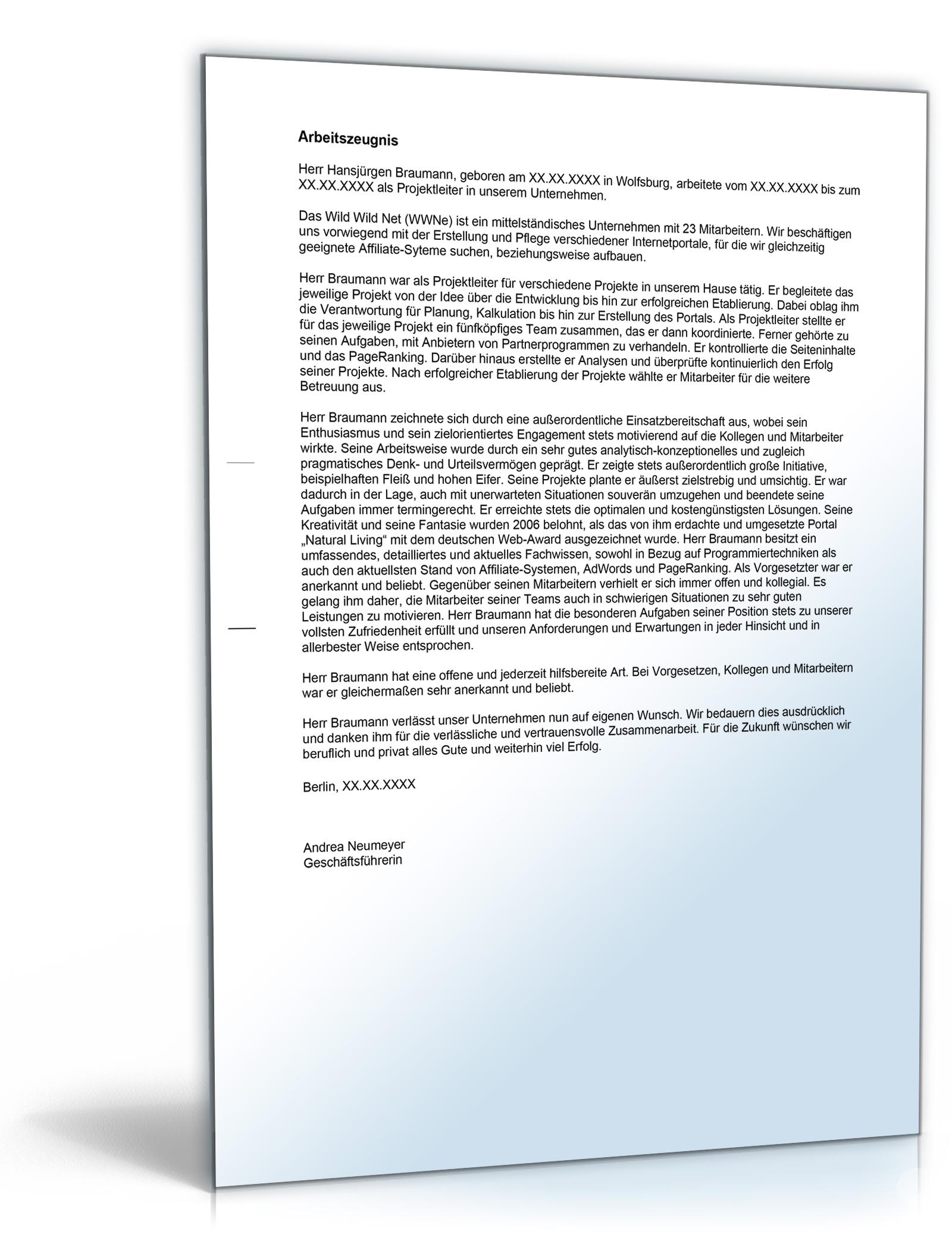 Arbeitszeugnis Projektleiter Note Eins [Word Dokument]: Amazon.de ...