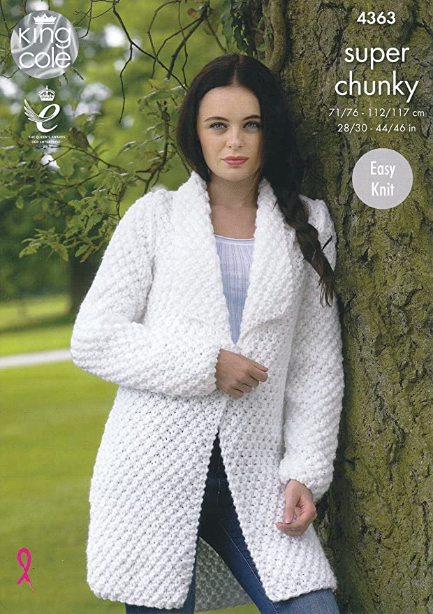 King Cole Ladies Super Chunky Knitting Pattern Easy Knit Jacket ...