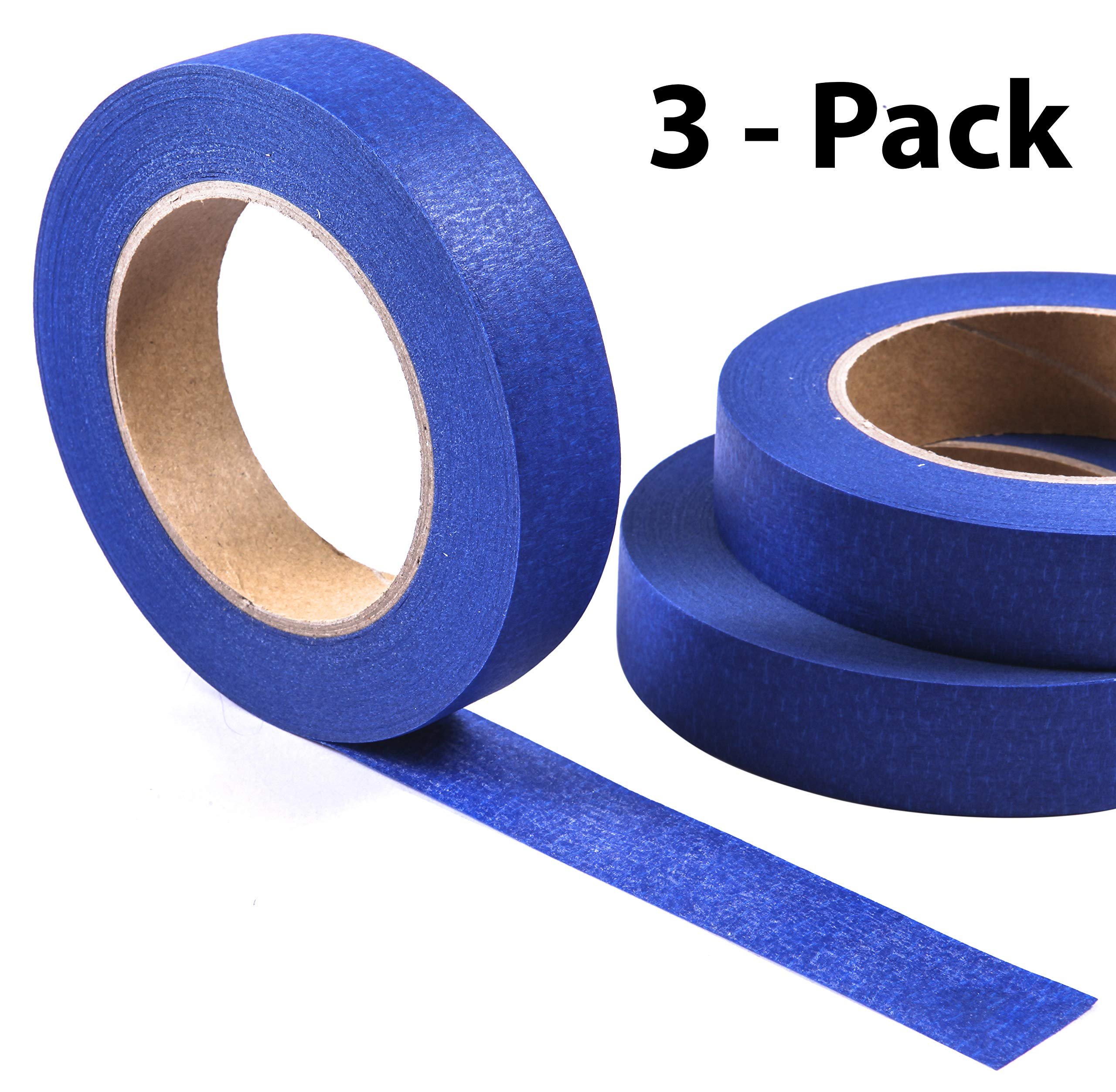 Blue Painter's Tape 3-Pack - 1 Inch by 55 Yards per Roll - Easy to Remove, Easy to Tear - No Residue - Masking Tape by Protech