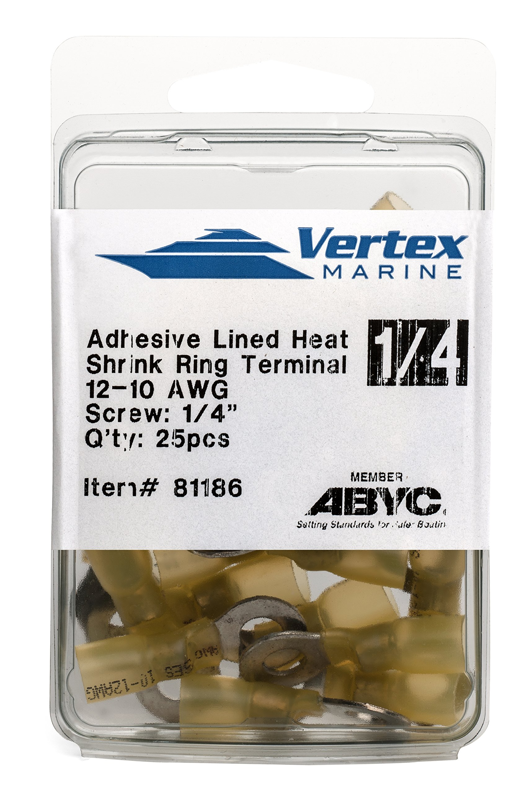 EWCS Ring Terminal Marine Grade - Adhesive Lined Heat Shrink - A81186-12-10 AWG - 1/4'' Stud - 25 Pack by EWCS