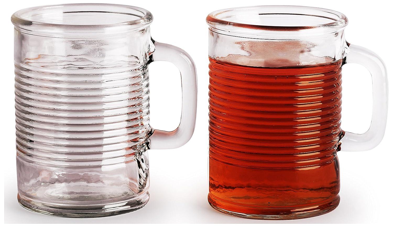 Puede con forma de vasos con mango de cristal, 17 onzas, juego de 4, transparente con base pesada Yorkshire Mason tarro cerveza zumo de agua tazas, ...