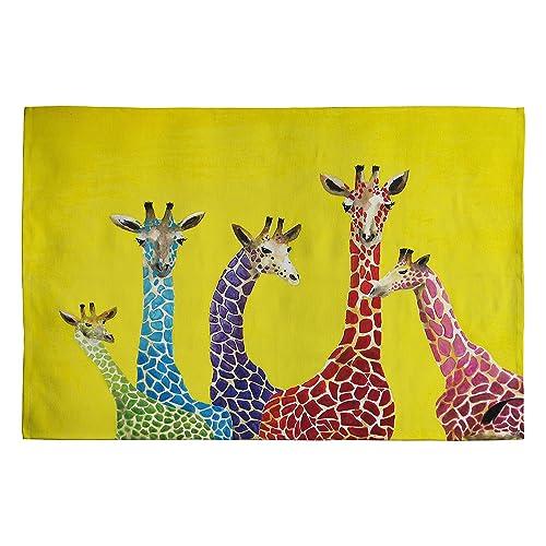 Deny Designs Clara Nilles Jellybean Giraffes Woven Rug, 4 by 6-Feet