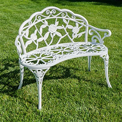 Fabulous Belleze Rose Style Love Seat Bench White Cast Iron Antique Designed Outdoor Patio Porch Home Garden Parks Backyard Pool Creativecarmelina Interior Chair Design Creativecarmelinacom