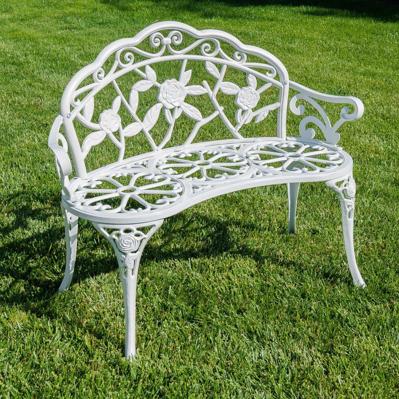 BELLEZE Rose Style Love Seat Bench White Cast Iron Antique Designed Outdoor Patio Porch Home Garden Parks Backyard Pool