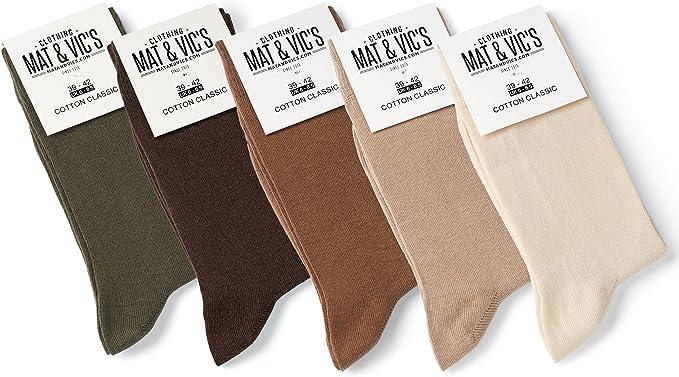 Mat & Vics Calcetines Clásicos de Vestir para Hombre y Mujer, Algodón, Certificado Oeko-Tex 100, cómodos, negro o multicolora (5 o 10 pares): Amazon.es: Ropa y accesorios